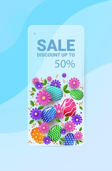 Joyeuses pâques vacances célébration vente bannière flyer ou carte de voeux avec des oeufs décoratifs et des fleurs illustration verticale