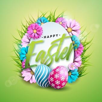 Joyeuses pâques vacances avec des oeufs peints et des fleurs