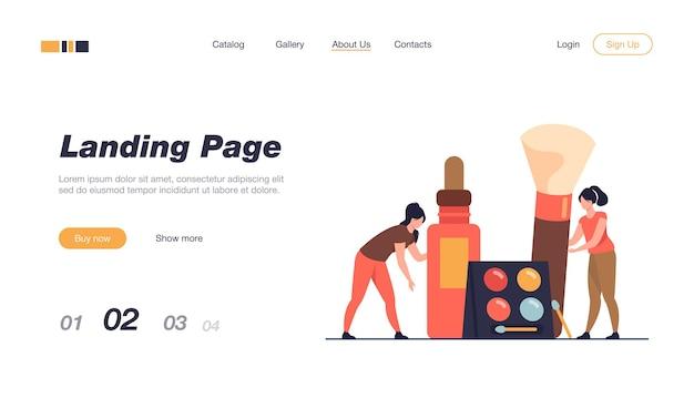 Joyeuses petites femmes testant le modèle de page de destination des produits de maquillage