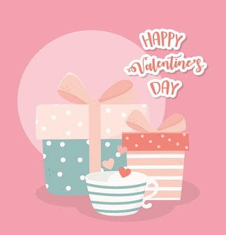 Joyeuses saint-valentin mignonnes coffrets cadeaux et tasse à café