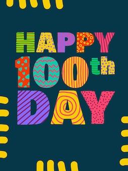 Joyeux 100e jour lettrage de félicitations pour la célébration du centième anniversaire de la corée
