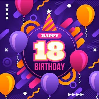 Joyeux 18e anniversaire avec des ballons et des confettis