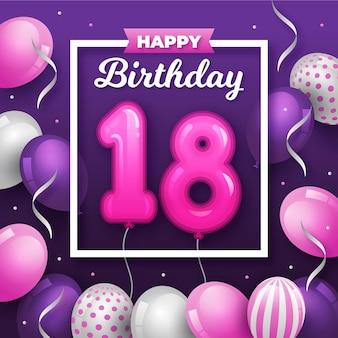 Joyeux 18e anniversaire avec des ballons dans un cadre blanc