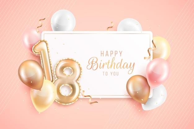 Joyeux 18e anniversaire avec des ballons réalistes