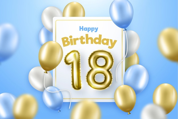 Joyeux 18ème anniversaire fond avec des ballons réalistes