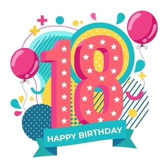 Joyeux 18ème anniversaire fond avec des ballons
