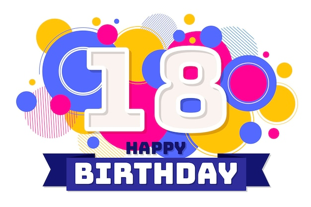 Joyeux 18ème anniversaire ruban et points de fond