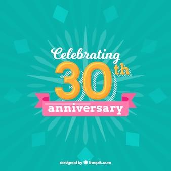 Joyeux 30e anniversaire dans un style plat