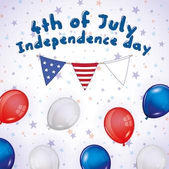 Joyeux 4 juillet. carte de fête de l'indépendance
