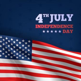 Joyeux 4 juillet fête de l'indépendance des états-unis, drapeaux de vecteur textile publicité 3d