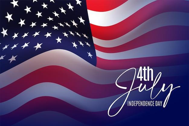 Joyeux 4 juillet salutation de la fête de l'indépendance des états-unis avec agitant le drapeau national américain et la conception de texte de lettrage à la main.