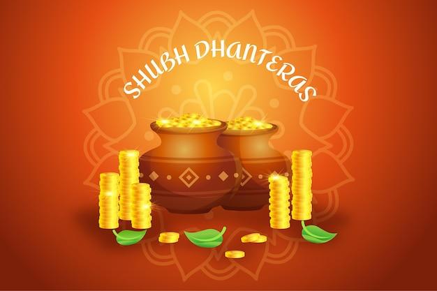 Joyeux akshaya tritiya pot en or traditionnel