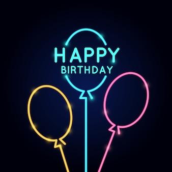 Joyeux anniversaire, affiche linéaire minimaliste dans un style néon.