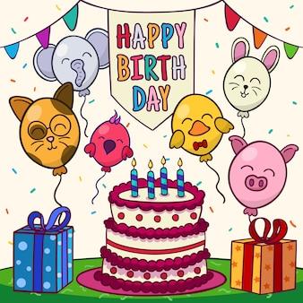 Joyeux anniversaire avec des animaux en ballon et un gâteau