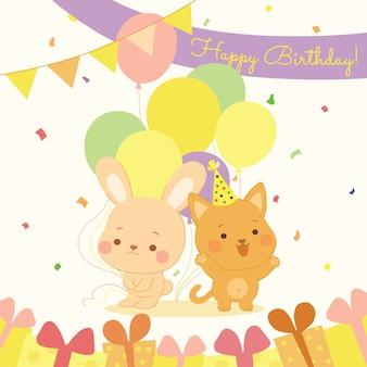 Joyeux anniversaire avec des animaux