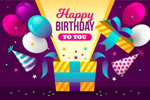 Joyeux anniversaire avec des ballons et une boîte cadeau