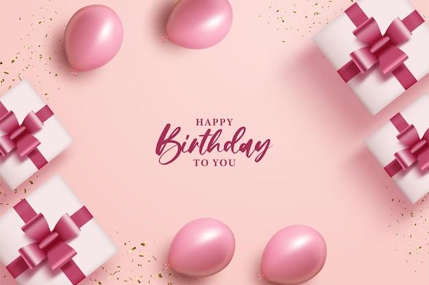 Joyeux anniversaire avec des ballons et des coffrets cadeaux sur fond rose