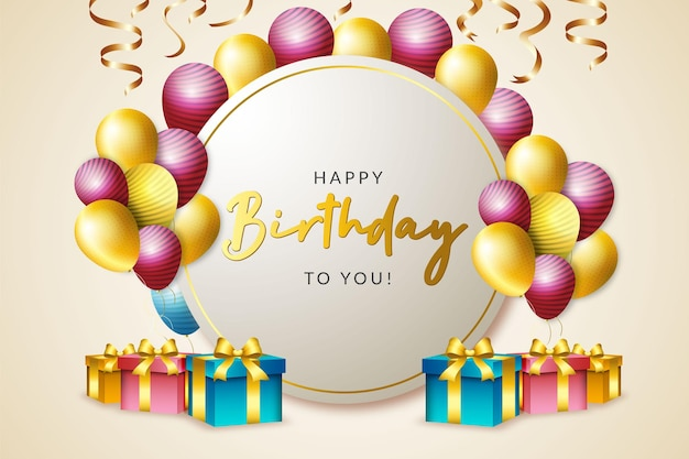 Joyeux anniversaire avec boîte-cadeau et ballon et confettis