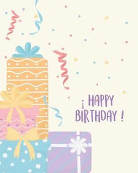 Joyeux anniversaire boîtes cadeau surprise célébration décoration carte