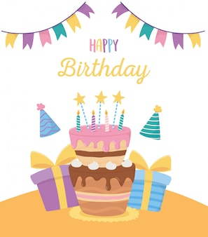 Joyeux anniversaire, boîtes-cadeaux de gâteaux chapeaux de fête bruants décoration décoration