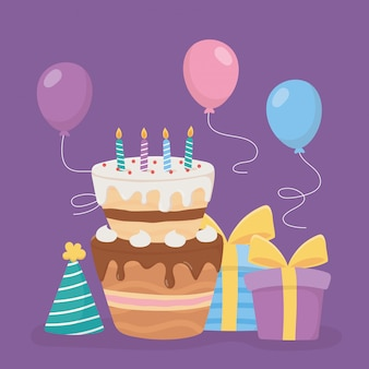 Joyeux anniversaire, bougies de gâteau cadeaux chapeau et ballons célébration de décoration