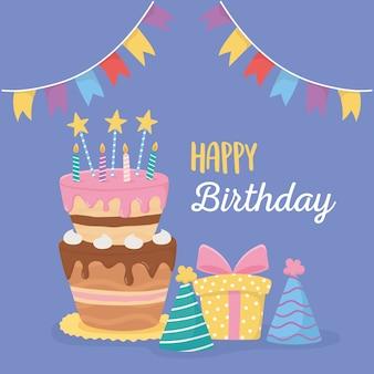 Joyeux anniversaire, bougies de gâteau chapeaux de fête boîte-cadeau et fanions célébration
