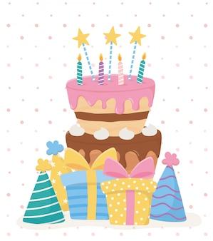 Joyeux anniversaire, bougies à gâteau étoiles cadeaux chapeaux fête célébration