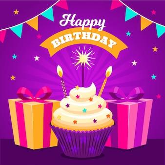 Joyeux anniversaire avec des cadeaux et des cupcakes