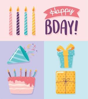 Joyeux anniversaire cadeaux gâteau bougies