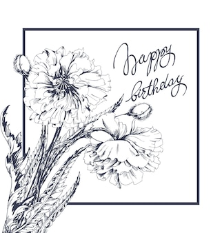 Joyeux anniversaire! carte de félicitation de vecteur avec des fleurs de pavot vecteur de modèle.