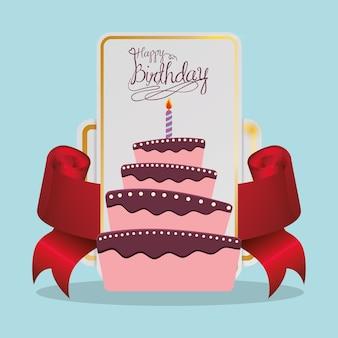 Joyeux anniversaire carte de gâteau de fête