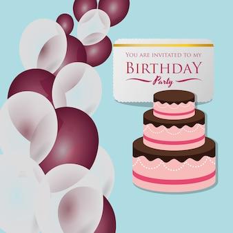 Joyeux anniversaire carte invitation ballons de gâteau