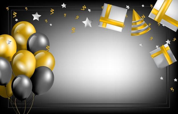 Joyeux anniversaire carte invitation célébration ballon sur fond noir doré