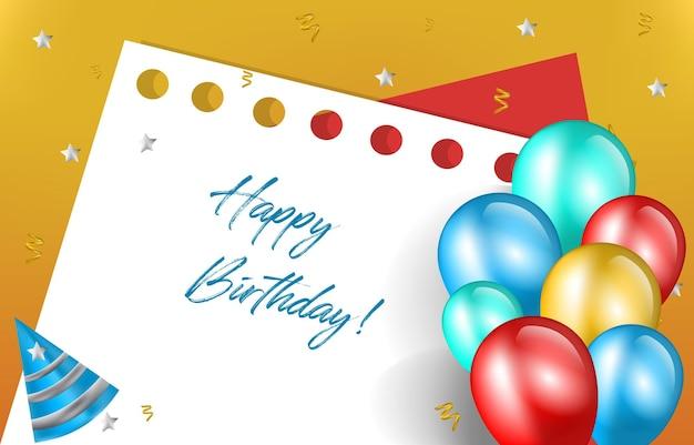 Joyeux anniversaire carte invitation célébration ballon papier note fond