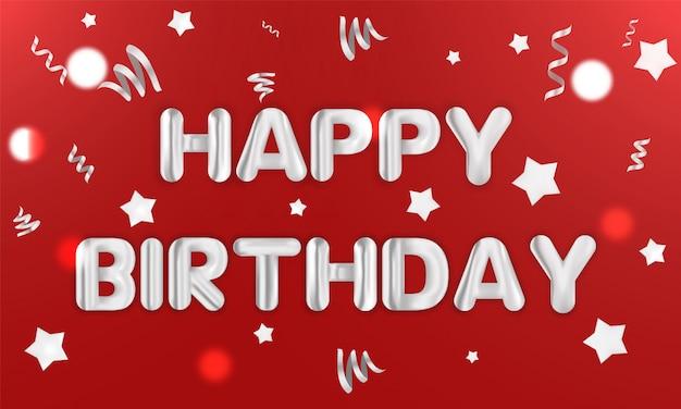 Joyeux anniversaire carte postale anniversaire. illustration vectorielle de carte de voeux réaliste. confettis présente le texte du parti cadeau carte postale.