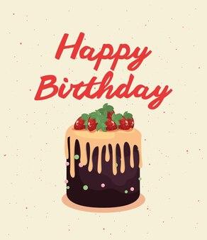 Joyeux anniversaire carte vintage gâteau avec décoration de fruits