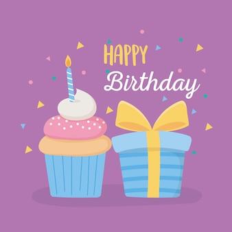 Joyeux anniversaire, coffret cadeau cupcake sucré avec bougie célébration