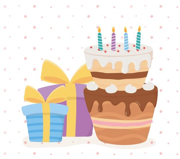 Joyeux anniversaire, coffrets cadeaux bougies gâteau surprise décoration carte de fête