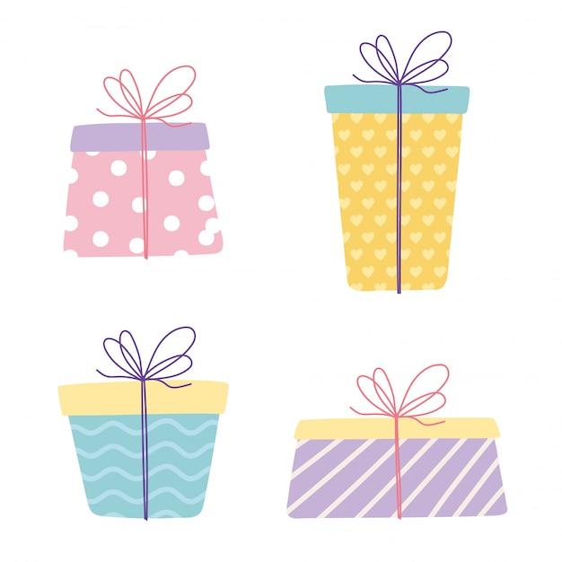 Joyeux anniversaire, coffrets cadeaux emballés surprise décoration célébration fête jeu d'icônes festives