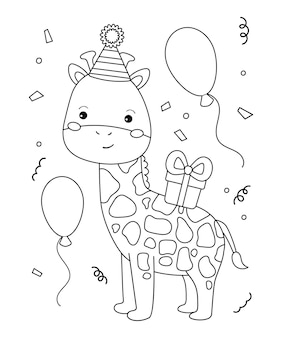 Joyeux anniversaire à colorier pour les enfants. girafe de drôle de bande dessinée avec des cadeaux et des ballons.