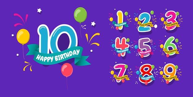 Joyeux anniversaire, concept de design d'anniversaire de 9 ans. conception pour bannière numérique ou impression.