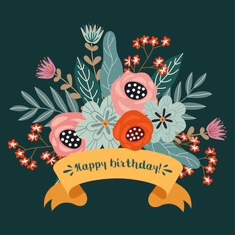 Joyeux anniversaire, concept de design dessiner main floral, bouquet de fleurs et ruban avec texte, vecteur