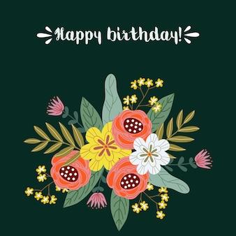 Joyeux anniversaire, concept de design dessiner main floral, bouquet de fleurs avec texte