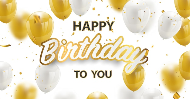 Joyeux anniversaire confettis dorés et or blanc et pailleté.