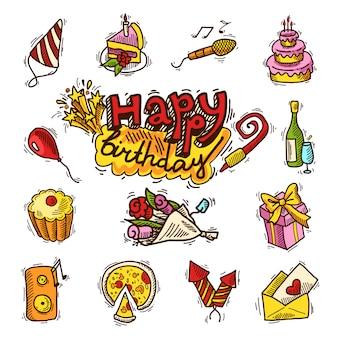 Joyeux anniversaire croquis couleur ensemble d'éléments