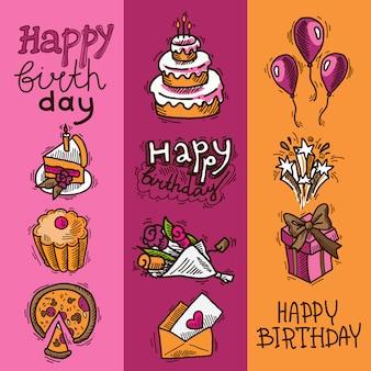 Joyeux anniversaire croquis éléments bannière verticale définie