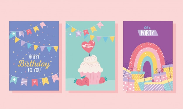 Joyeux anniversaire, cupcake cadeaux arc-en-ciel décoration célébration carte de voeux et modèles d'invitation à une fête