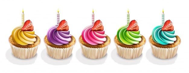 Joyeux anniversaire cupcakes isolés