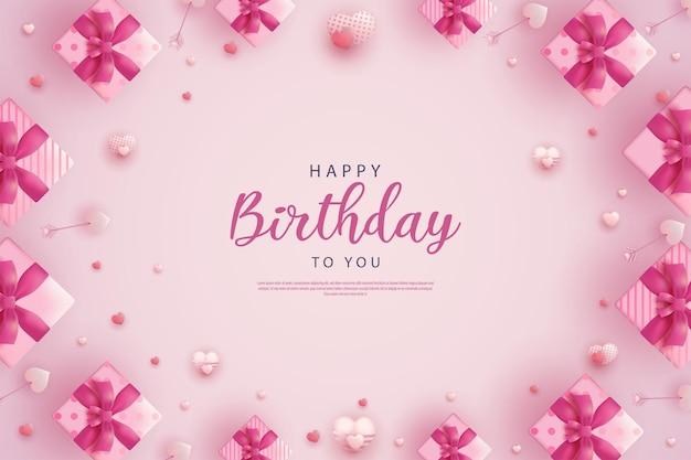 Joyeux anniversaire avec décoration de boîte-cadeau et ballons entourant l'écriture
