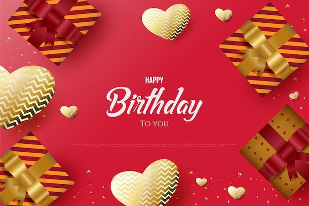 Joyeux anniversaire avec décoration de boîte-cadeau et forme de coeur